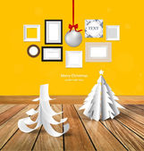Merry Christmas greeting card with origami Christmas tree, Chris — Stok Vektör