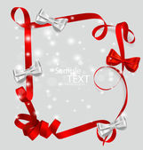 Shiny red ribbon with copy space. Vector illustration. — Stock Vector