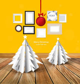 Merry Christmas greeting card with origami Christmas tree, Chris — Stockvektor