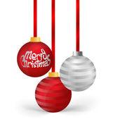 Christmas balls with ribbon, vector illustration. — Stock Vector