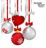 Christmas decorations with ribbon and bow, vector illustration. — Cтоковый вектор