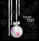 Christmas ball with ribbon and bow, vector illustration. — Vecteur