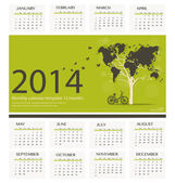 2014 calendar, tree shaped world map design. Vector illustration — Stock Vector