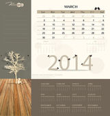 2014 calendar, monthly calendar template for March. Vector illus — Stock Vector