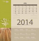 2014 calendar, monthly calendar template for April. Vector illus — Stock Vector