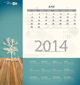 2014 calendar, monthly calendar template for June. Vector illust — Stock Vector