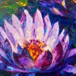 Oil painting of beautiful lotus flower — Stok fotoğraf