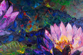 Oil painting of beautiful lotus flower — Stock Photo