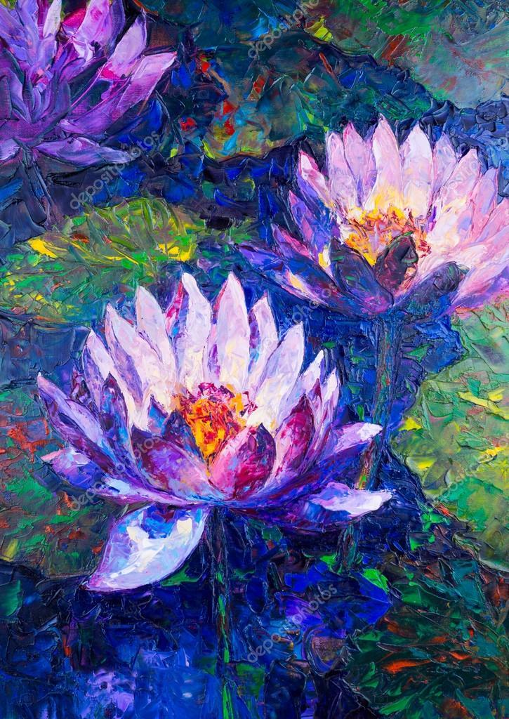 Pintura al leo de la flor de loto precioso foto stock - Decorarte pinturas ...