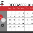 Simple 2014 calendar, December. Vector illustration. — Stock Vector