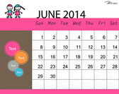 Simple 2014 calendar, June. Vector illustration. — Stock Vector