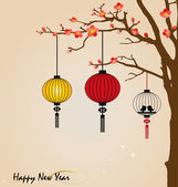 Big traditional chinese lanterns will bring good luck and peace — Stock Vector