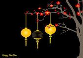 Grandi lanterne cinesi tradizionali porterà pace e buona fortuna — Vettoriale Stock