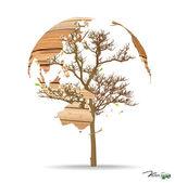 Mapa świata w kształcie drzewa. ilustracja wektorowa. — Wektor stockowy