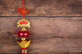 Chinese New Year decoration on wood wall — Photo