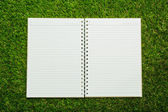 Notebook on fresh spring green grass — Stock Photo