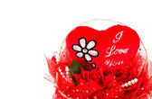 Red heart gift on white background — Стоковое фото