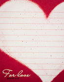 Vintage valentine's note paper heart — Stock Photo