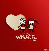 Amour de garçon et de fille avec symbole de forme de coeur de papier pour la saint valentin — Vecteur