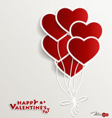 Red heart balloons for Valentines day. Vector illustration. — Stock Vector