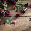 Stock Photo: Dried rose on old wood background