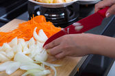 Cooking vegetables and fruit salad in kitchen — Stock Photo