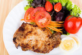 Grilled beef steak with salad — Stock Photo