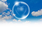 Heart floating in a bubble in the sky — Stock Photo