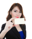 Business woman holding  blank card isolated on white background — Foto Stock