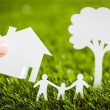 Paper cut of family with house and tree on fresh spring green gr — Stock Photo #41599229