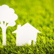Paper cut of  house and tree on fresh spring green grass — Stock Photo #41599255