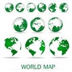 Set of modern green globes. Vector Illustration. — Stock Vector #41982701