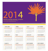 2014 year calendar, vector illustration. — Stock Vector