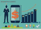 Infographic design template - businessman showing touchscreen de — Stock Vector