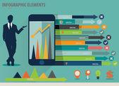 шаблон оформления инфографики - бизнесмен показываю сенсорный де — Cтоковый вектор