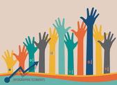 Infographic design template - colorful raised hands. Vector illu — Stock Vector