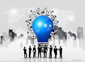 Business people silhouettes and light bulb as inspiration concep — Stock Vector