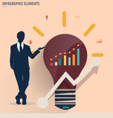 Businessman showing light bulb concept for idea. Vector illustra — Stock Vector
