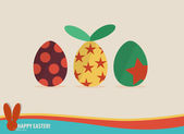 Happy easter cards with easter eggs, ribbon. Vector illustration — Stock Vector
