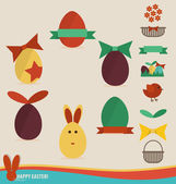 Happy easter cards with easter eggs, ribbon. Concept holiday spr — Stock Vector