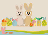 Happy easter cards with easter eggs, cute rabbit, ribbon. Concep — Διανυσματικό Αρχείο