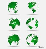 Set of modern globes. Vector Illustration. — Stock Vector