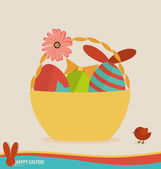 Happy easter cards with easter eggs. Concept holiday spring cart — Stock Vector