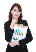 Business woman hold clipboard paper with finance chart isolated — Stock Photo