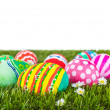Easter Eggs with flower on Fresh Green Grass over white backgrou — Stock Photo #43915795