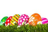 Easter Eggs with flower on Fresh Green Grass over white backgrou — Stock Photo