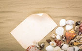 Sea shells on beach sand with old paper. Summer background — Stock Photo