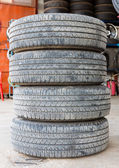Stack of worn out rubber tire — Stock Photo