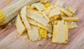 Fresh corn on wood — Stock Photo