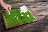Paper cut of children play on green grass book — Stock Photo